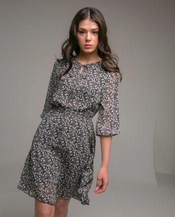 Платье-мини шифоновое, воротник на завязках, цветочный принт